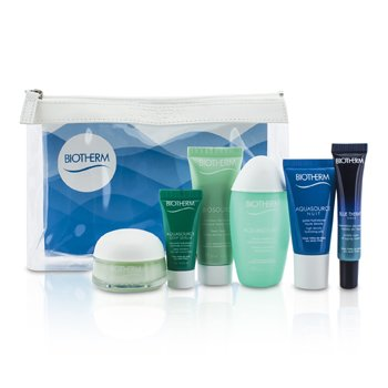 Biotherm Travel Set: Blue Therapy Serum + Aquasource Cream + Cleanser + Toning Lotion + Nuit Jelly + Deep Serum + Bag  6pcs+1bag