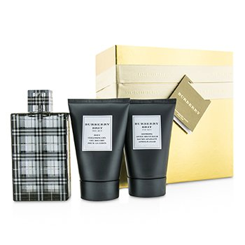 BurberryBrit Coffret: Eau De Toilette Spray 100ml/3.3oz + Gel Limpiador Corporal 100ml/3.3oz + B�lsamo para Despu�s de Afeitar 100ml/3.3oz (Caja Dorada) 3pcs