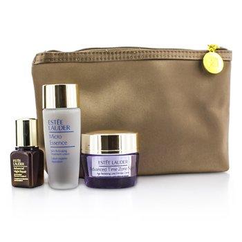 Est�e LauderTravel Set: Micro Essence 30ml + Advanced Time Zone Night Cream 15ml + Advanced Night Repair II 7ml + Bag 3pcs+1bag