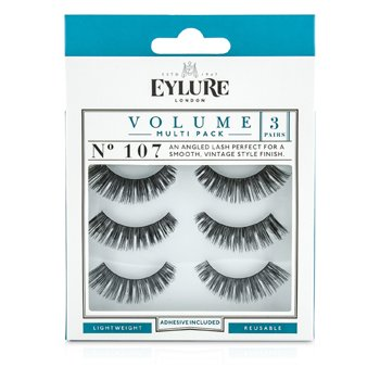Image of Eylure Volume False Lashes Multipack - 107 Black (Adhesive Included) 3pairs