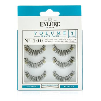 Image of Eylure Volume False Lashes Multipack - 100 Black (Adhesive Included) 3pairs