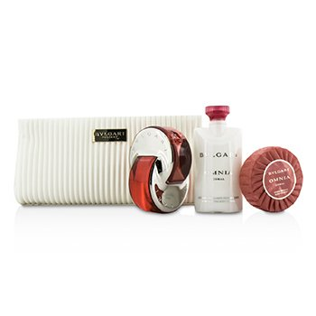 BvlgariOmnia Coral Coffret: Eau De Toilette Spray 65ml/2.2oz + Soap 75g/2.6oz + Loci�n Corporal 75ml/2.5oz + Bolsa 3pcs+pouch