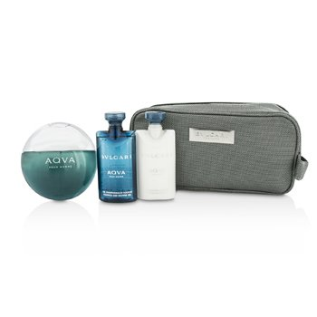 BvlgariAqva Pour Homme Coffret: Eau De Toilette Spray 100ml/3.4oz + Shampoo & Shower Gel 75ml/2.5oz + After Shave Balm 75ml/2.5oz + Pouch 3pcs+1pouch