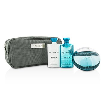 BvlgariAqva Pour Homme Marine Coffret: Eau De Toilette Spray 100ml/3.4oz + Shower Gel 75ml/2.5oz + After Shave Balm 75ml/2.5oz + Pouch 3pcs+1pouch