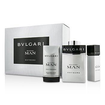 Bvlgari Man Extreme Coffret: EDT Spray 100ml/3.4oz & 15ml/0.5oz + After Shave Balm 75ml/2.5oz 3pcs  men