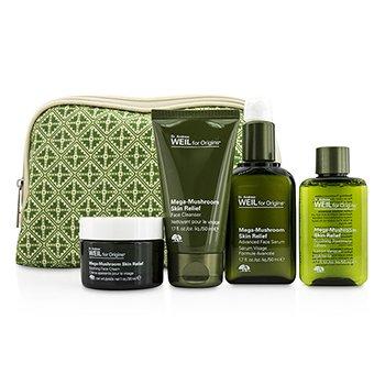 OriginsDr. Andrew Mega Mushroom Skin Relief Set: Cleanser 50ml + Lotion 50ml + Serum 50ml + Cream 30ml + Bag 4pcs + 1bag