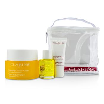 ClarinsBody Care Set: Tonic Body Polisher 250g + Tonic Body Treatment Oil 30ml + Body Lotion 30ml 3pcs