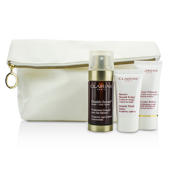 ClarinsYouth Boosters Set: Double Serum 30ml + Gentle Refiner 30ml + Beauty Flash Balm 15ml + Bag 3pcs+1bag