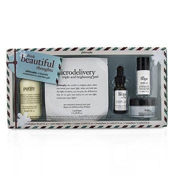 PhilosophyThink Beautiful Thoughts Set: Cleanser 90ml + Moisturizer 15ml + Eye Cream 7.5ml + Serum 11ml + Peel Pad 2.2g 5pcs