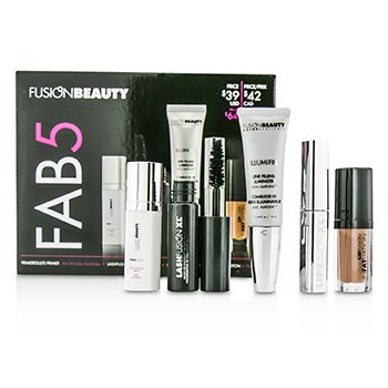 Fusion Beauty Fusion Beauty Fab5 Set: 1x Primer 1x Mascara 1x Lip Plump 1x Lip Gloss 1x Lip Luminizer 5pcs