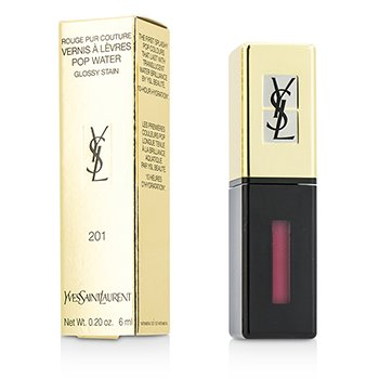 Yves Saint Laurent Rouge Pur Couture Vernis A Levres Pop Water Glossy Stain – #201 Dewy Red 6ml/0.2oz