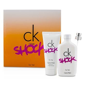 Calvin Klein CK One Shock For Her Coffret: Eau De Toilette Spray 100ml/3.4oz + Body Lotion 100ml/3.4oz  2pcs