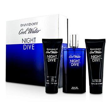 DavidoffCool Water Night Dive Coffret: Eau De Toilette Spray 125ml/4.2oz + B�lsamo para Depu�s de Afeitar 75ml/2.5oz + Gel Ducha 75ml/2.5oz 3pcs