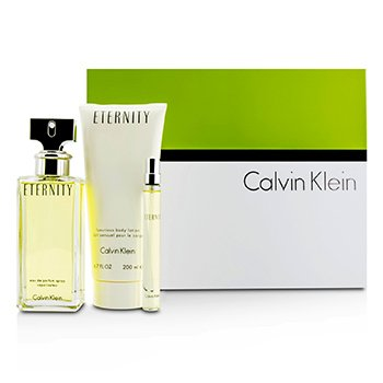Calvin KleinBộ Eternity: Eau De Parfum Spray 100ml/3.4oz + Dưỡng Thể 200ml/6.7oz + Eau De Parfum 10ml/0.33oz 3pcs