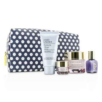 Estee LauderResilience Lift Set: Face & Neck Creme 50ml + Eye Creme 5ml + Perfectionist [CP+R] 15ml + Perfectly Clean 50ml + Bag 4pcs+1bag