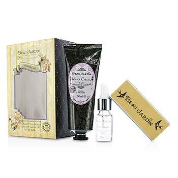 Heathcote & Ivory Beau Jardin Lavender & Jasmine Набор для Маникюра: Крем для Рук 100мл/3.38унц + Масло для Кутикулы 10мл/0.33унц +