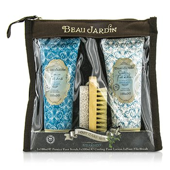 Heathcote & Ivory Beau Jardin Spearmint Foot Care Set: Pumice Foot Scrub 100ml/3.38oz + Foot Lotion 100ml/3.38oz + Foot File/Brush  3pcs