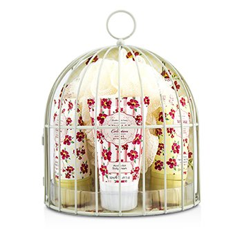 Heathcote & IvoryVintage Mimosa & Pomegranate Miniature Birdcage with Bath & Body Essentials 4pcs