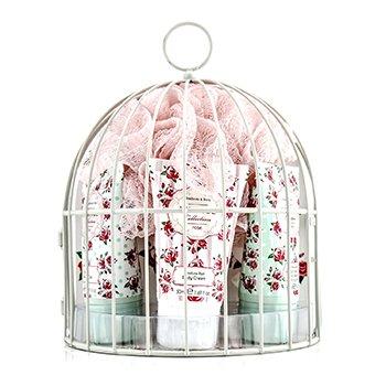 Heathcote & IvoryVintage Rose Miniature Birdcage with Bath & Body Essentials 4pcs