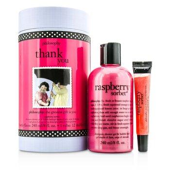 PhilosophyThank You Set: Raspberry Sorbet Shampoo, Shower Gel & Bubble Bath 240ml + Lip Shine 12ml 2pcs