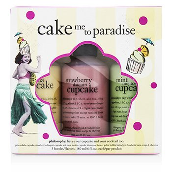 Cake Me To Paradise Set: Pina Colada Cupcake 180ml + Strawberry Cupcake 180ml + Mint Mojito Cupcake 180ml Philosophy Cake Me To Paradise Set: Pina Colada Cupcak