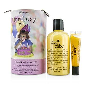 PhilosophyBirthday Day Girl Set: Vanilla Birthday Cake Shampoo, Shower Gel & Bubble Bath 240ml/8oz + Lip Shine 14g/0.5oz 2pcs