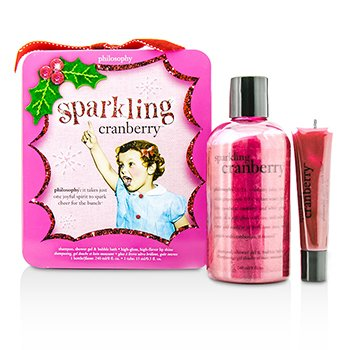 自然哲理 Philosophy Sparkling Cranberry Set: Sparkling Cranberry Shampoo  Shower Gel & Bubble Bath 240ml/8oz + Lip Shine 15ml/0.5oz 2pcs