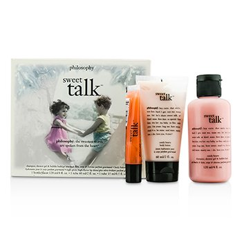 PhilosophySweet Talk Travel Set: Shampoo, Shower Gel & Bubble Bath 120ml + Body Lotion 60ml + Lip Shine 15ml 3pcs