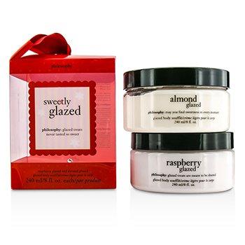 自然哲理 Philosophy Sweetly Glazed Body Souffle Set: Raspberry Glazed Body Souffle 240ml/8oz + Almond Glazed Body Souffle 240ml/8oz 2pcs