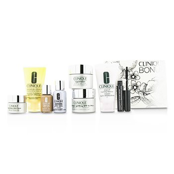 Clinique Travel Set: Cleanser + DDML+ + Repairwear Day Cream + Night Cream + Laser Focus Serum + Eye Cream + Makeup #04 + Mascara 8pcs