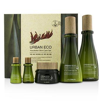 The Saem Urban ECO Harakeke Skin Care Set: Toner 180ml + Emulsion EX 140ml + Cream EX 60ml + Toner 20ml + Emulsion EX 20ml 5pcs