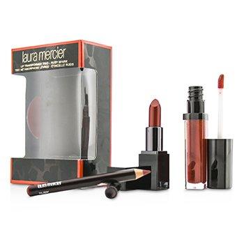 Laura Mercier Lip Transformer Trio (1x Lip Glace 4.5g + 1x Mini Lip Color 2g + 1x Mini Lip Pencil 0.7g) - Ruby Spark  3cps
