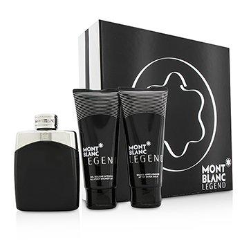 Mont Blanc Legend Coffret: Eau De Toilette Spray 100ml/3.3oz + After Shave Balm 100ml/3.3oz + All-Over Shower Gel 100ml/3.3oz  3pcs