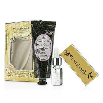 Healthcote & Ivory Beau Jardin Lavender & Jasmine Manicure Kit: Hand Cream 100ml/3.38oz + Cuticle Oil 10ml + Nail Buffer (Box Slightly Damaged) 3pcs