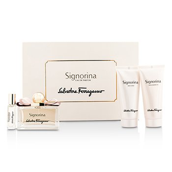 Salvatore FerragamoSignorina Coffret: Eau De Parfum Spray 100ml/3.4oz + Body Lotion 100ml/3.4oz + Bath & Shower Gel 100ml/3.4oz + Roll On 7ml/0.24oz 4pcs