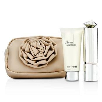 SwarovskiAura Coffret: Eau De Parfum Refillable Spray 50ml/1.7oz + Loci�n Corporal 100ml/3.5oz + Bolsa Flor 2pcs