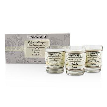 Durance Three-Candle Boxed Set: Cotton Flower  Fig Milk & Vanilla 3x75g/2.6oz