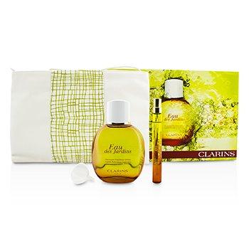 Clarins Eau Des Jardins Coffret: Fragrance Spray 100ml/3.3oz +  Spray 10ml/0.3oz + Repuesto + Bolsa  3pcs+1bag