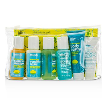 BlissLemon & Sage Sinkside Six Pack: Body Butter + Soapy Suds + Shampoo + Conditioner + Face Wash + Energizing Cream 6pcs+1bag