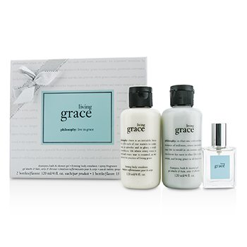 PhilosophyLiving Grace Coffret: Eau De Toilette Spray 15ml/0.5oz + Body Emulsion 120ml/4oz + Shower Gel 120ml/4oz (Silver Ribbon) 3pcs