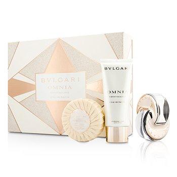 Bvlgari Omnia Crystalline Coffret: L'Eau De Parfum Spray 65ml/2.2oz + Body Lotion 100ml/3.4oz + Scented Soap 150g/5.30oz  3pcs