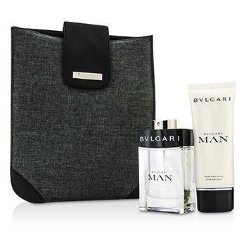 BvlgariMan Coffret: Eau De Toilette Spray 100ml/3.4oz + After Shave Balm 100ml/3.4oz + Bag 2pcs+1bag
