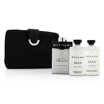 BvlgariMan Extreme Coffret: Eau De Toilette Spray 100ml/3.4oz + After Shave Balm 75ml/2.5oz + Shampoo & Shower Gel 75ml/2.5oz + Bag 3pcs+1bag