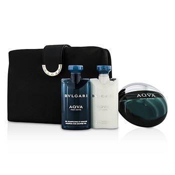 BvlgariAqva Pour Homme Coffret: Eau De Toilette Spray 100ml/3.4oz + After Shave Balm 75ml/2.5oz + Shampoo & Shower Gel 75ml/2.5oz + Bag 3pcs+1bag