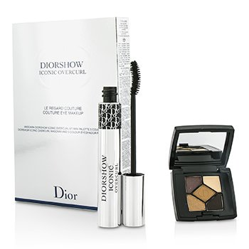 Christian Dior Diorshow Couture Eye Makeup Set: Diorshow Iconic Overcurl Mascara + Mini 5 Couleurs Eyeshadow Palette 2pcs