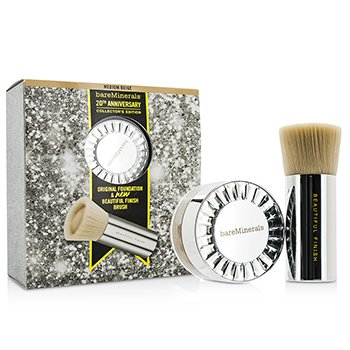 Bare Escentuals BareMinerals 20th Anniversary Collector's Edition: Original Foundation + Finish Brush – # Medium Beige 2pcs
