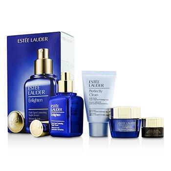 Estee LauderSkintone/Spot Correction Set: Enlighten Serum 50ml + Creme 15ml + ANR Eye Complex II 5ml + Perfectly Clean 30ml 4pcs