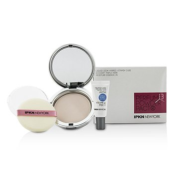 IPKN New York Moist Perfume Powder Pact (01 Shiny Pink) 14.5g/0.51oz + Mini Hyaluronic Acid Primer 2pcs