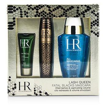Helena Rubinstein Lash Queen Fatal Blacks Mascara Kit: Mascara 7.2ml/0.24oz + MakeUp Remover 50ml/1.69oz + Powercell 3ml/0.15oz  3pcs