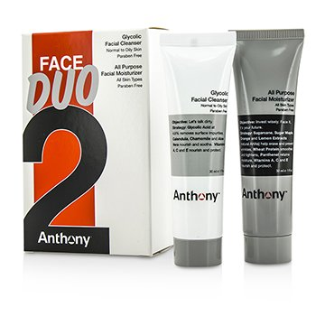 AnthonyLogistics For Men Face Duo Kit: Glycolic Facial Cleanser 30ml + All Purpose Facial Moisturizer 30ml 2pcs